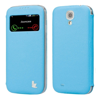 JisonCase Smart Leather Case для Galaxy S4 i9500 Book Type Blue