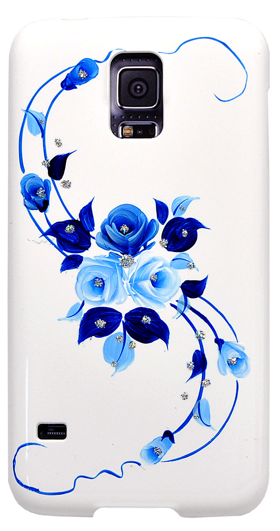 iCover для Samsung Galaxy S5 G900 Hand Printing Vintage Rose White/Blue