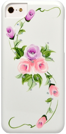 iCover для iPhone 5C Hand Printing Vintage Rose IPM-HP/W-VR/PP White/Purple