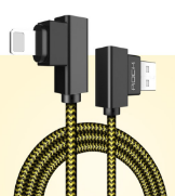 Кабель USB/Lightning Rock Dual-end L-shaped Lightning Data Cable 100cm (RCB0519) Yellow